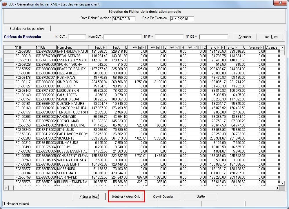 Logiciel de gestion commerciale - Génération du fichier XML pour la télédéclaration de l'état des ventes par client