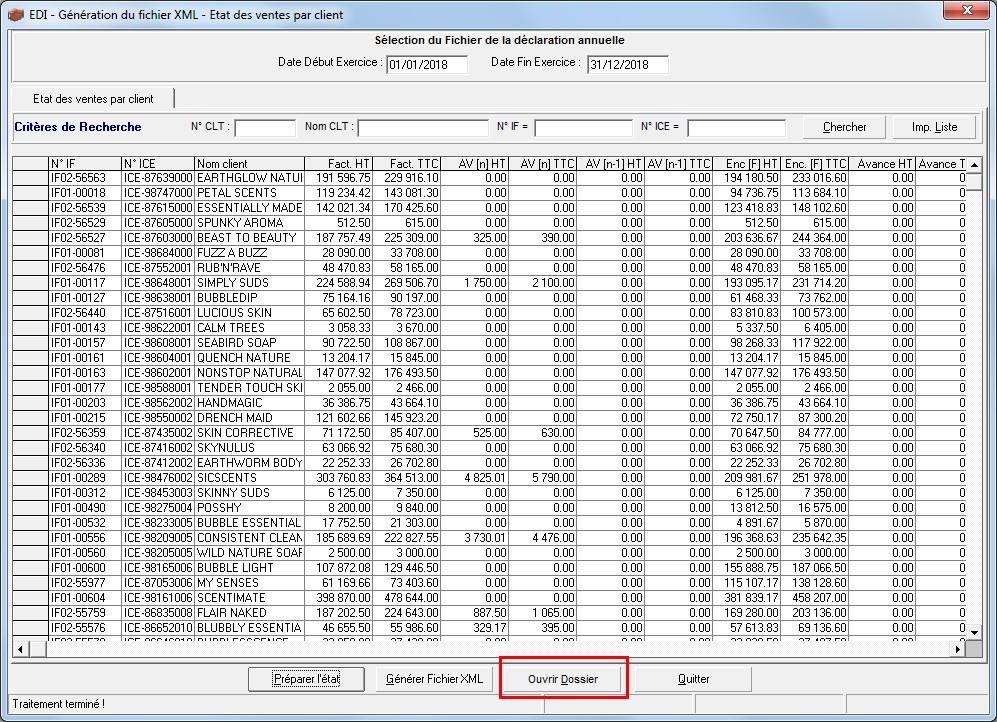 Logiciel de gestion commerciale - Ouverture du fichier XML de la télédéclaration de l'état des ventes par client
