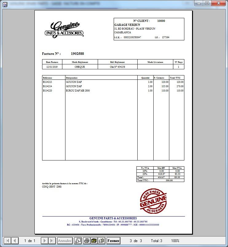 Logiciel de gestion commerciale - Facture client divers