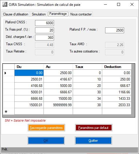 Parametres de calcul des salaires