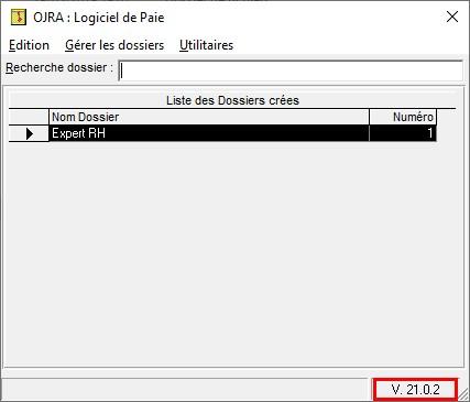 Logiciel de paie OJRA – Vérification de la version installé